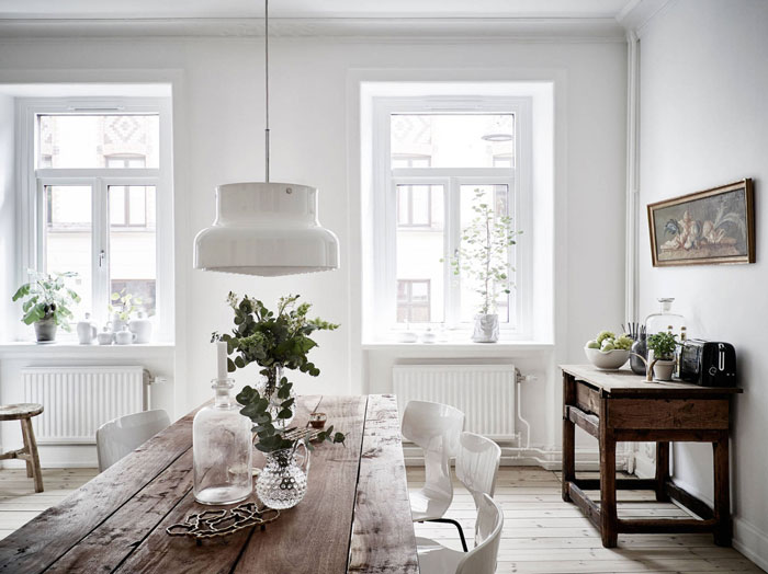 white interior, bright apartment, simple interior styling