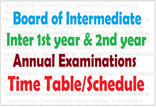 AP Inter Exams,Time Table, Schedule