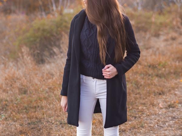 265. Stylizacja: płaszcz i sweter z warkoczowym splotem