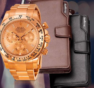 клатч baellerry business и часы rolex daytona в подарок некоторые
