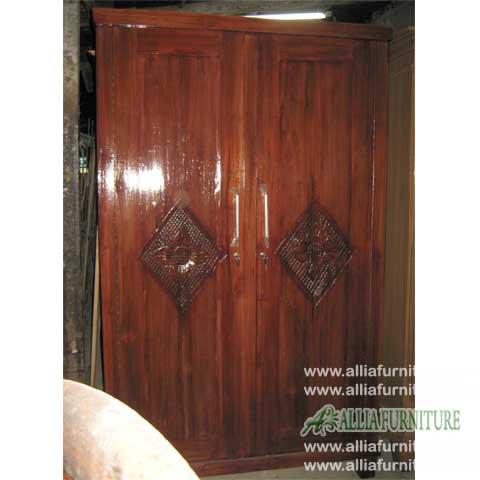 lemari minimalis jati 2 pintu motif matahari