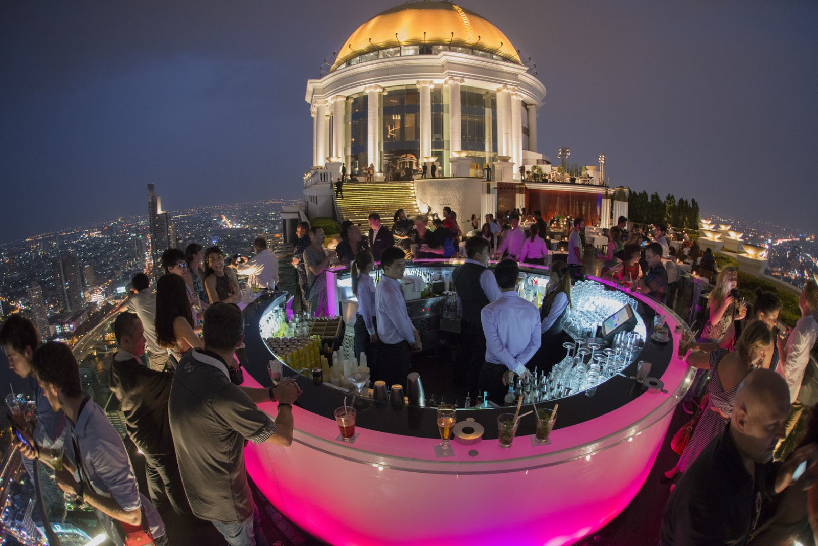 The World's 30 Best Rooftop Bars… Everyone Should Drink At #9 At Least Once. - The Sky Bar is suspended 820 feet in the air on top of the Tower Club in Bangkok in Thailand.