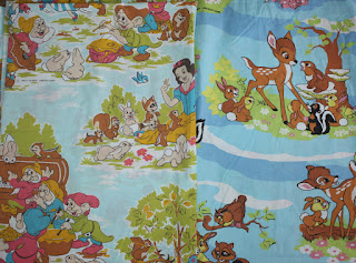 Vintage French Disney Bed Sheets Bambi Snow White