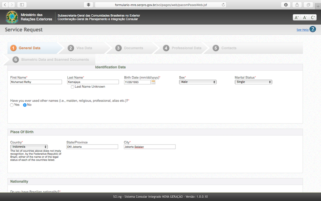 Pengalaman Mengurus Visa Brazil di Jakarta - Form Aplikasi Online General Data