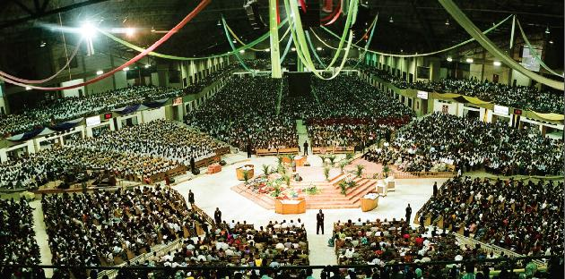 """Image result for Winners Chapel was the first 50,000-seat capacity auditorium worldwide, known as the """"Faith Tabernacle"""","""