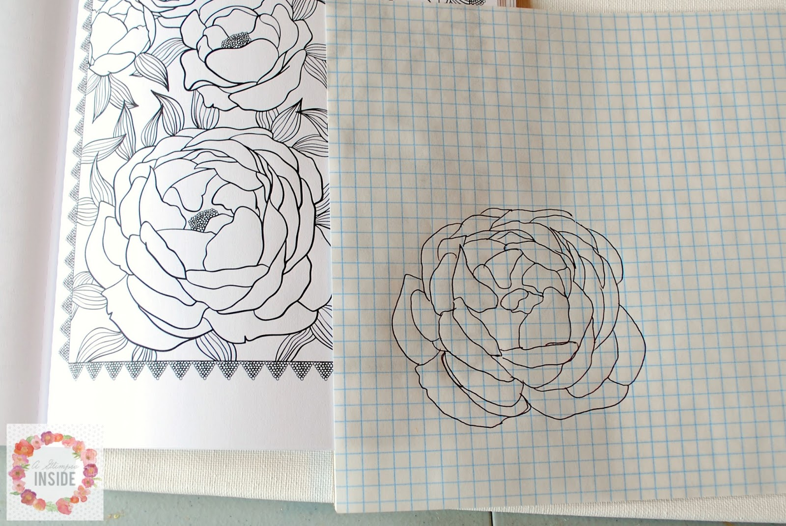 How To Draw A Rose On Graph Paper Jpg 1600x1072 Flower Grid Paper Drawings