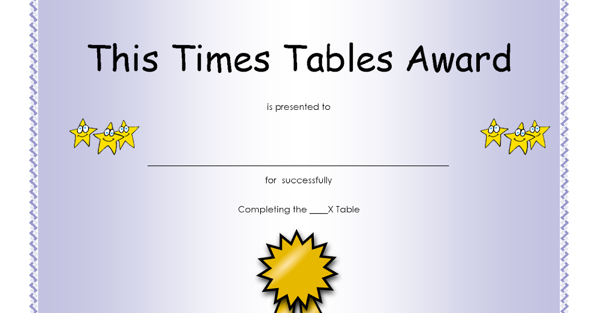Free Printable Times Tables Awards Certificate ~ Parenting Times