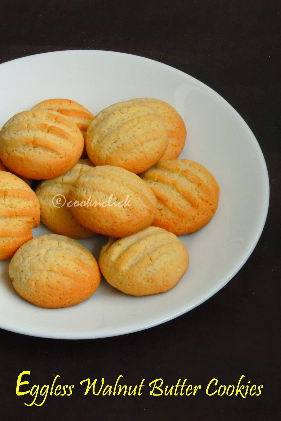 Eggless butter cookies with walnuts