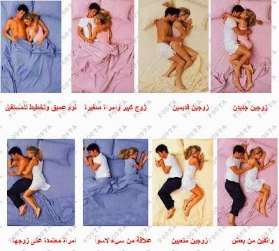 وضعية نومك بجوار زوجك تخبرك عن شكل العلاقة بينكما ..!! اختاري وضعية نومك وشاهدي الفيديو سنكشف لكي أسرار علاقتك بزوجك