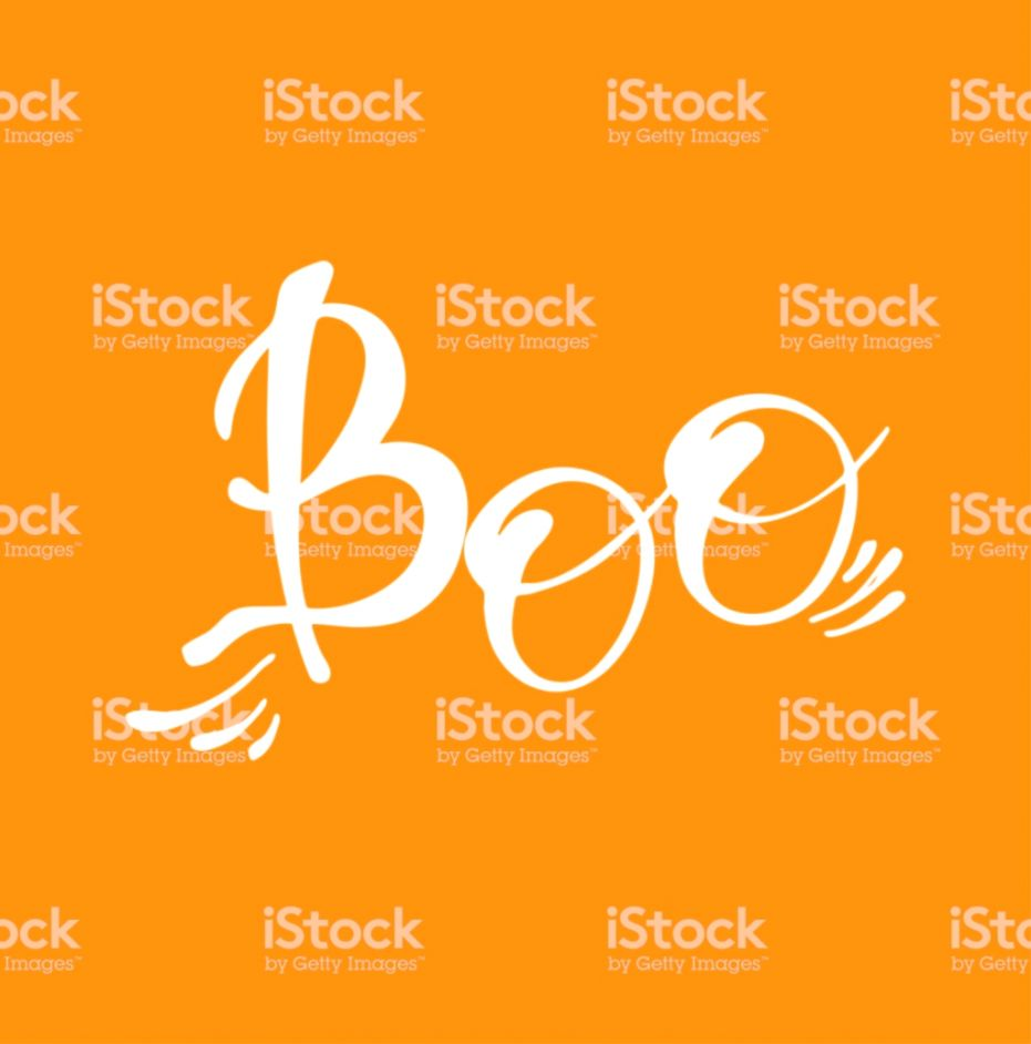 Boo Halloween Quotes On Orange Background Vector Lettering Stock