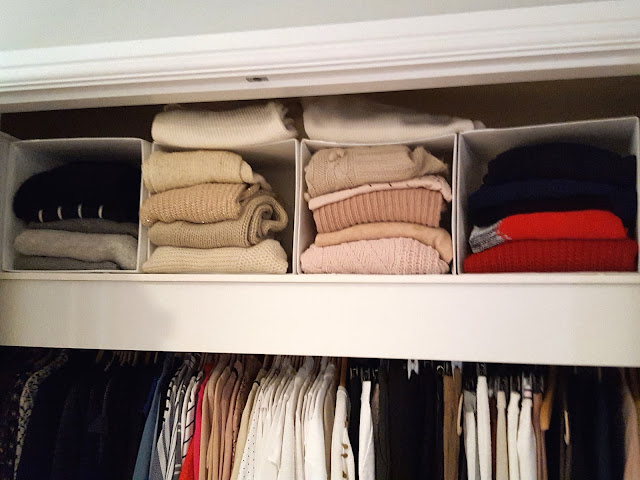 storing jumpers neatly in boxes