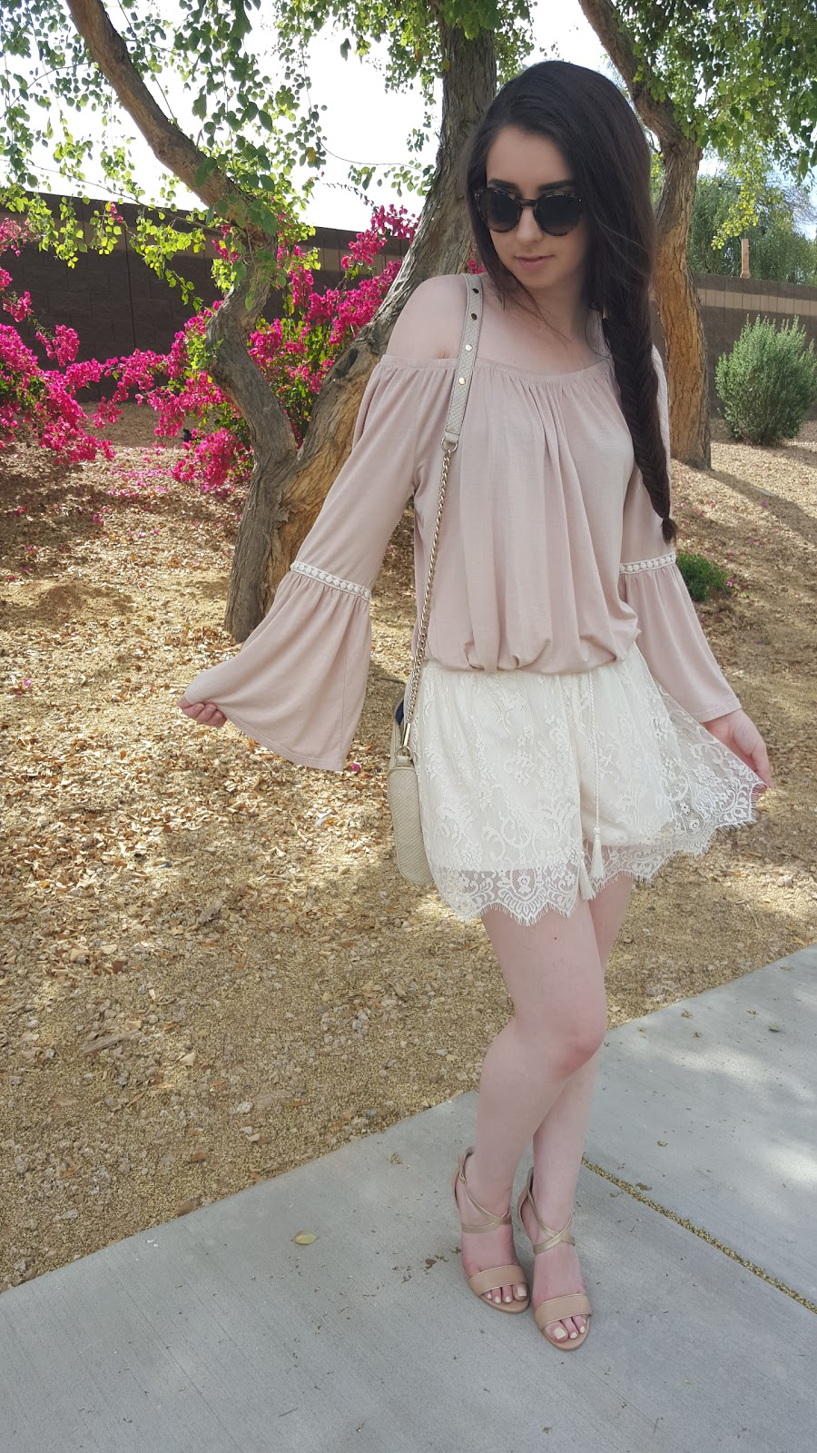 Spring and Summer outfit idea with lace shorts and off the shoulder top