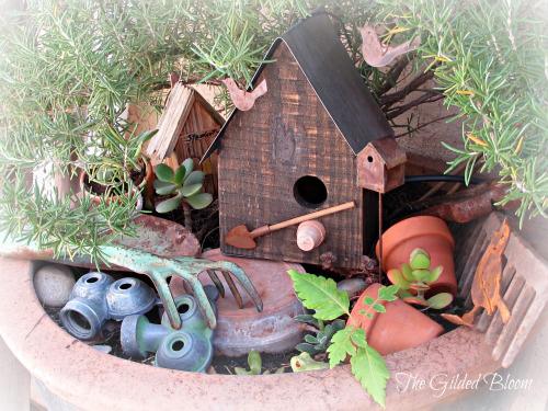 A Miniature Garden Vignette- www.gildedbloom.com