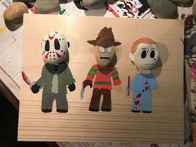 Decoración para Halloween con piedras pintadas monstruos personajes peliculas de terror