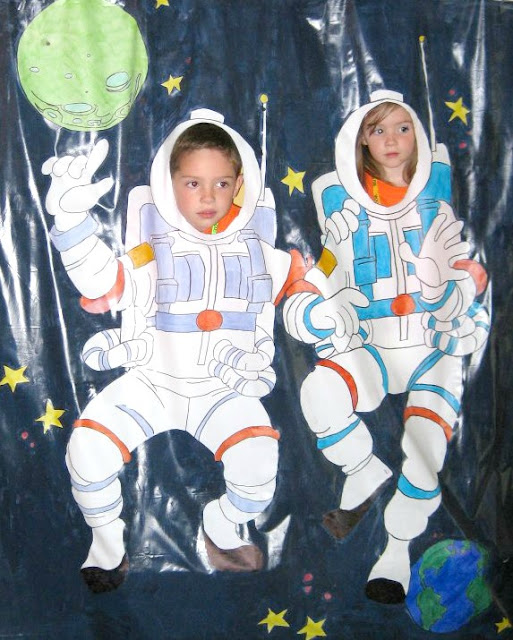 futuristic vbs for kid astronaut suit photo booth backdrop outerspace
