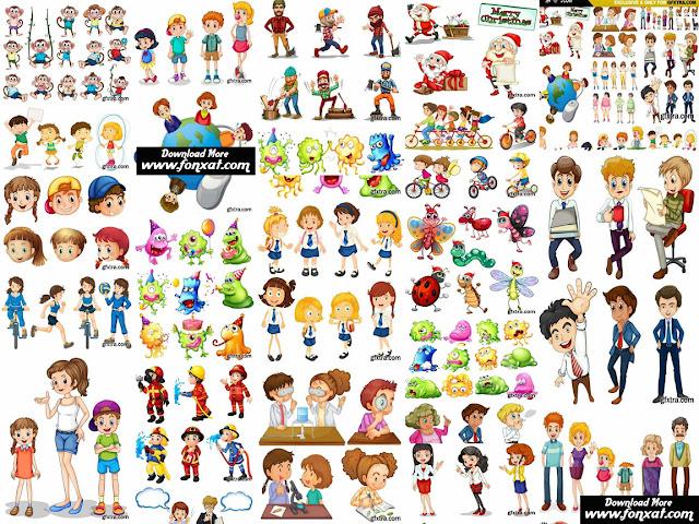 مجموعه من الشخصيات الكرتونة 3D فيكتور Cartoon Characters 6