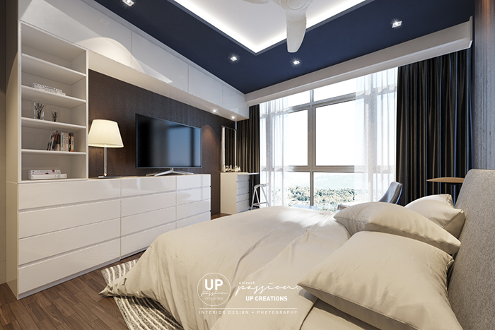 twins damansara heights condo master bedroom with full white tv console cum storage cabinet, dresser with dark blue color ceiling and bedhead wall