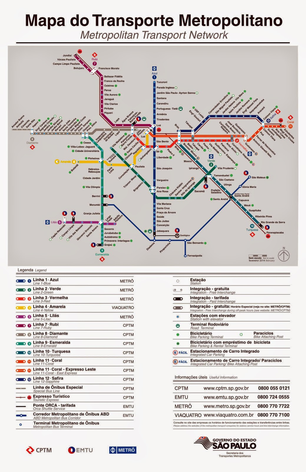 Mapa Metrô e Trem de São Paulo