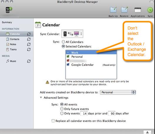 sync mac outlook calendar with blackberry