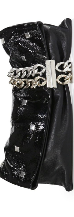 Jimmy Choo Chandra Studded Matte & Patent Leather Clutch