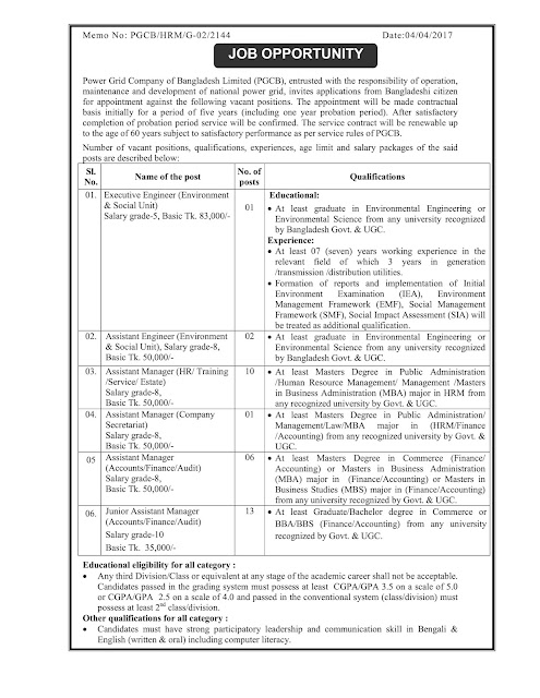 Job opportunity at Power Grid Company of Bangladesh Ltd (PGCB)