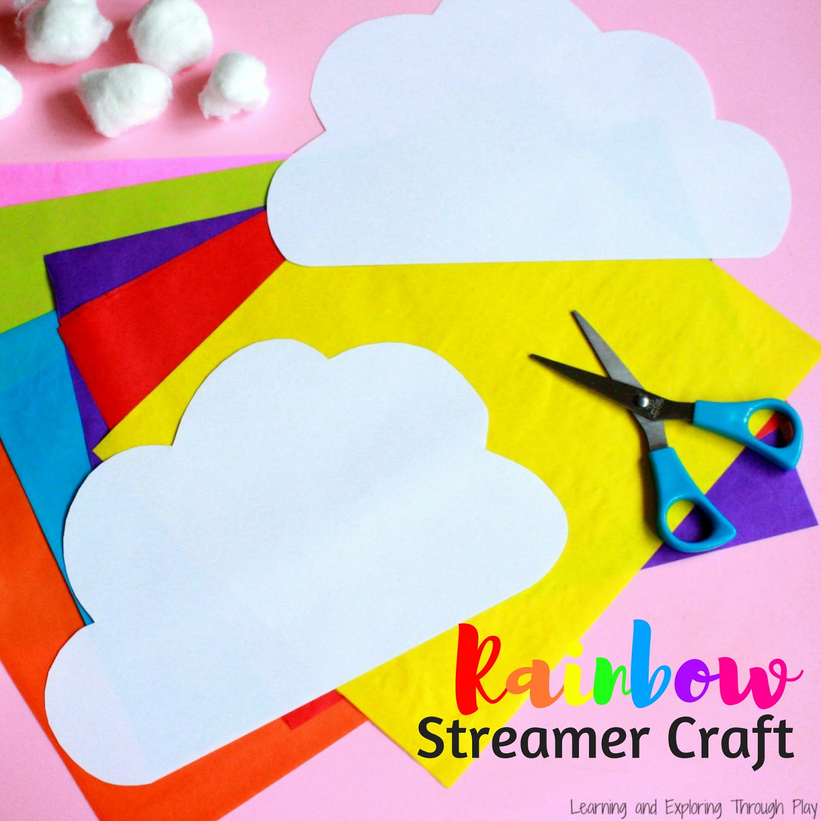 learning and exploring through play rainbow streamer craft