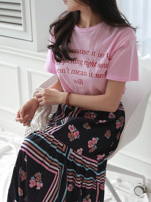 Lettering Print Short Sleeve T-Shirt