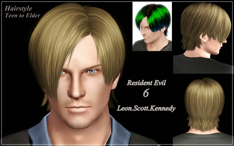 My Sims 3 Blog Resident Evil 6 Leon Scott Kennedy Hair For Males