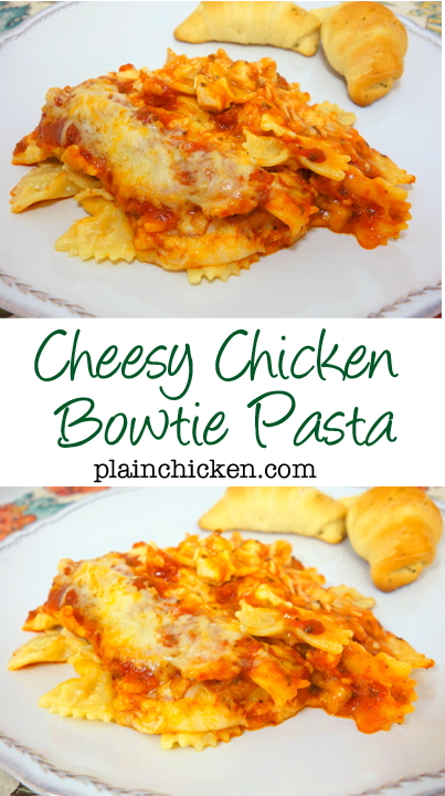 Cheesy Chicken Bowtie Pasta recipe - bow tie pasta, chicken, tossed in a homemade cheddar sauce and spaghetti sauce, topped with mozzarella and baked - SOOO delicious. Makes a great freezer meal. It makes a ton, so we freeze half of it for later. Serve with a side salad and crusty garlic bread.