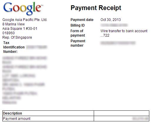 AdSense Payment Receipt via Wire Transfer