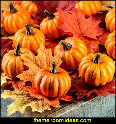 Autumn Decorating Kit of Autumn Leaves, Artificial Mini Pumpkins, Acorns and Orange Berry and Leaf Picks