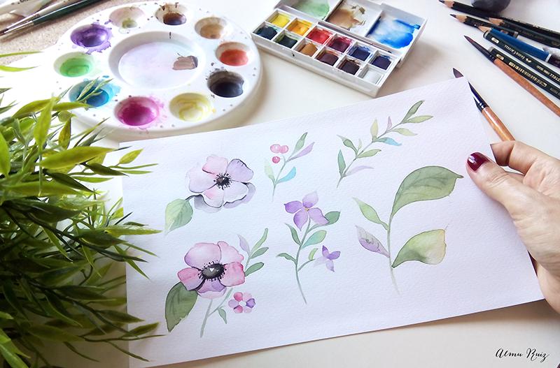 Flores, hojas y ramas pintadas a mano con acuarela
