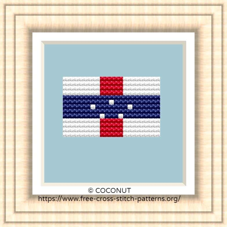 NATIONAL FLAG OF NETHERLANDS ANTILLES CROSS STITCH CHART