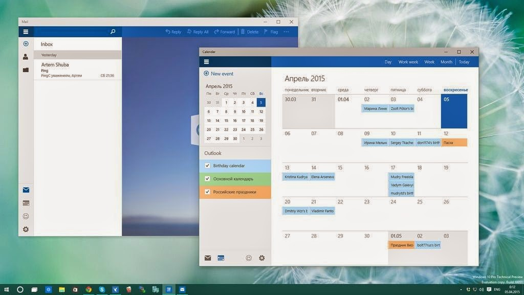 New Mail and Calendar apps in Windows 10