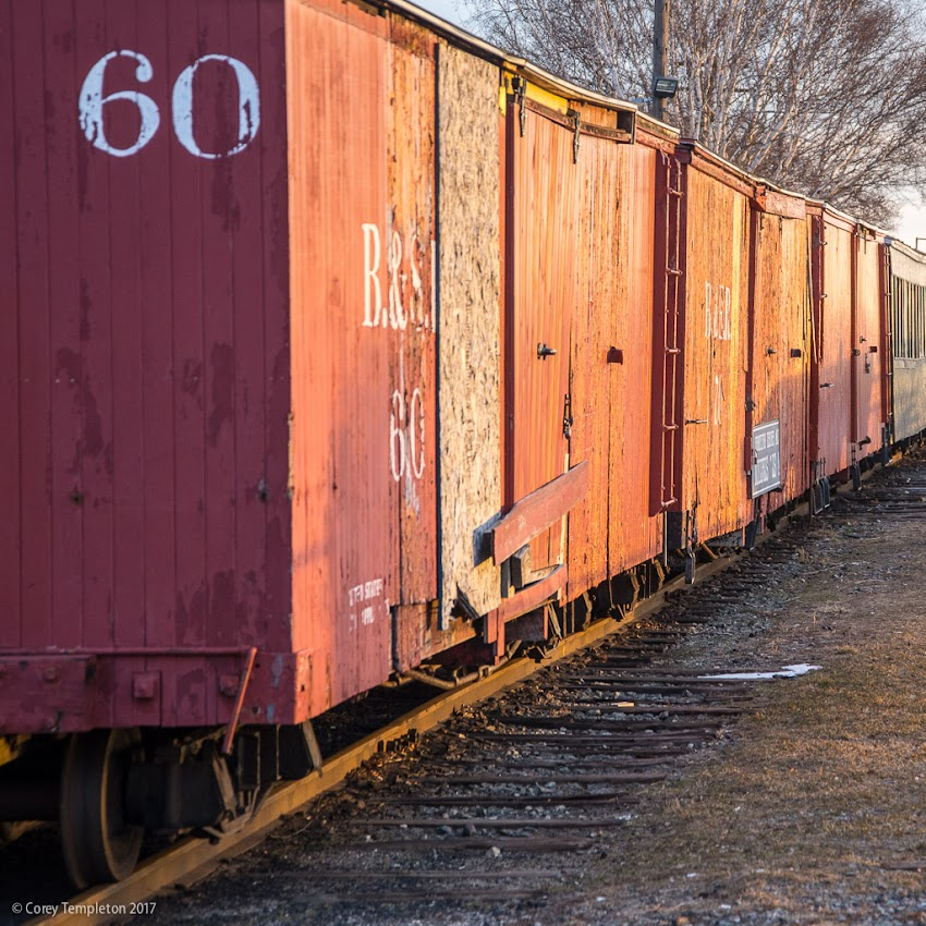 Portland, Maine USA January 2017 photo by Corey Templeton of Maine Narrow Gauge Railroad boxcars sitting for the winter along the Eastern Waterfront.