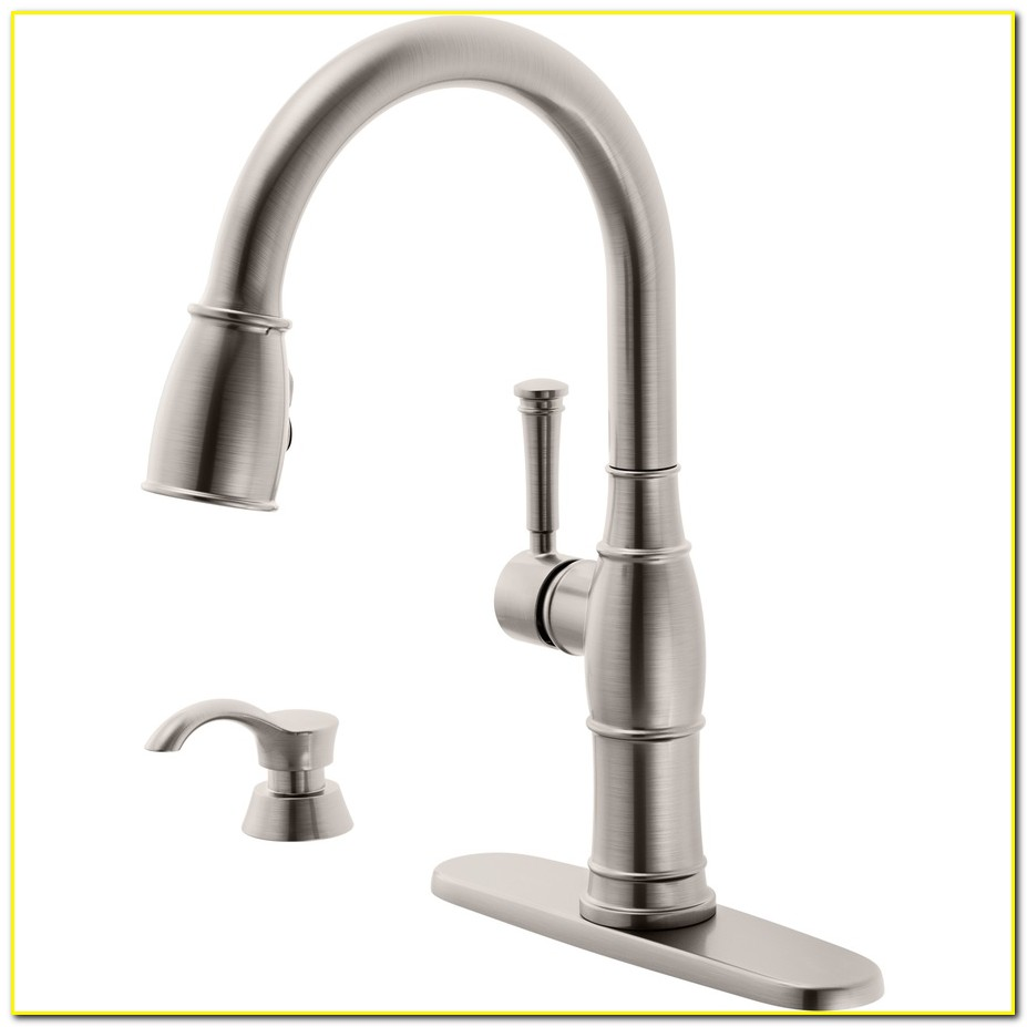 Kitchen Faucets Lowes Delta Valdosta Spotshield Stainless 1 Handle Pull Down Deck Mount Faucet