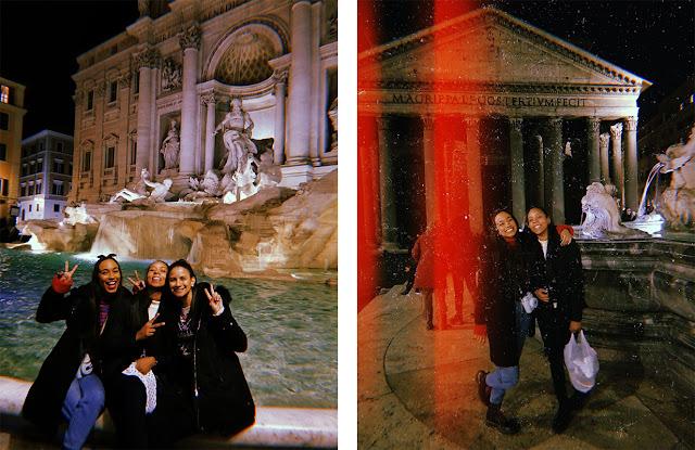 A la izquierda, en la Fontana Di Trevi. A la derecha, en el Panteón de Roma
