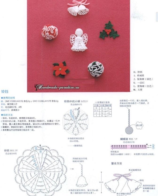 Схемы вязания рождественского ангела, колокольчиков, пуансеттии, рябинки и декоративных шариков.