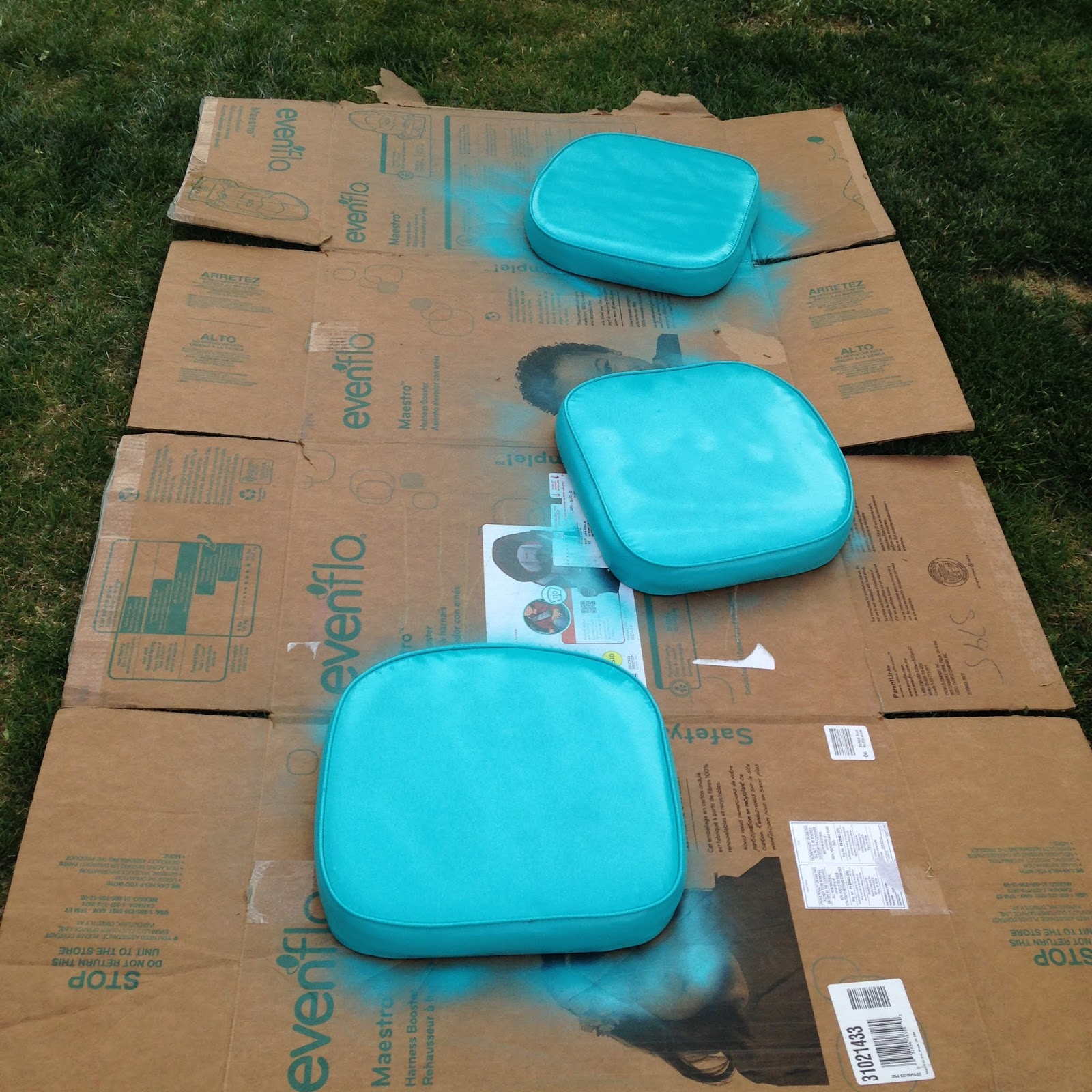 spray painted vinyl cushions