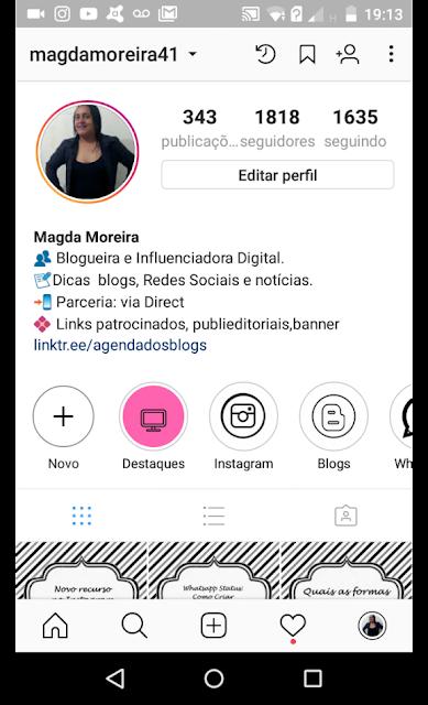 Capa de destaque no perfil do Instagram