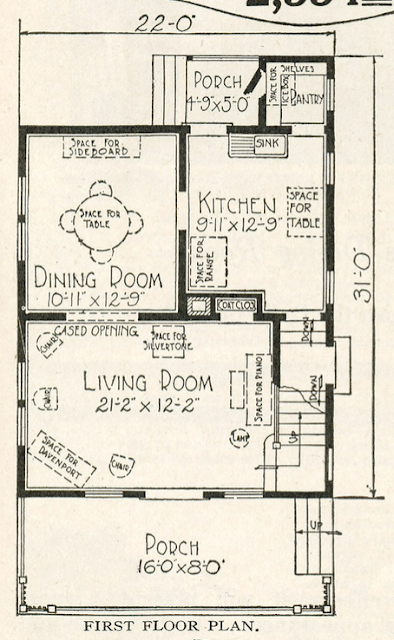 sears Marquette first floor layout shown in 1920 catalog