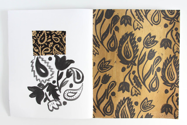 2x2 Sketchbook, #2x2Sketchbook, Dana Barbieri, Anne Butera, Sketchbook, patterns, lino cutting, painting, paisley