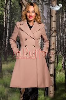 Palton dama de iarna cu nasturi elegant stofa bej-rose