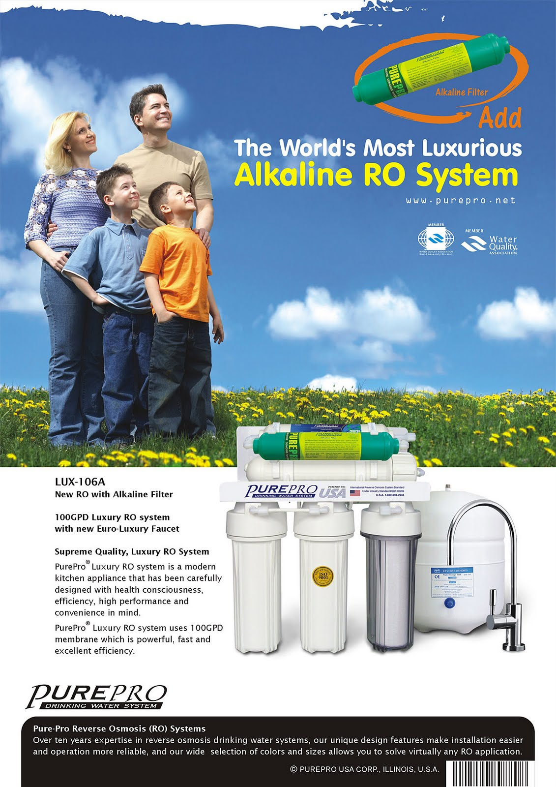 PurePro® LUX-106A Reverse Osmosis Water Filtration System
