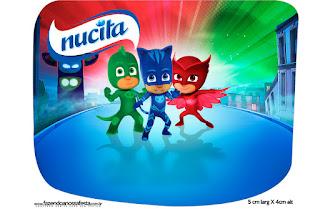 Etiqueta Nucita de Super Héroes en Pijamas para imprimir gratis.