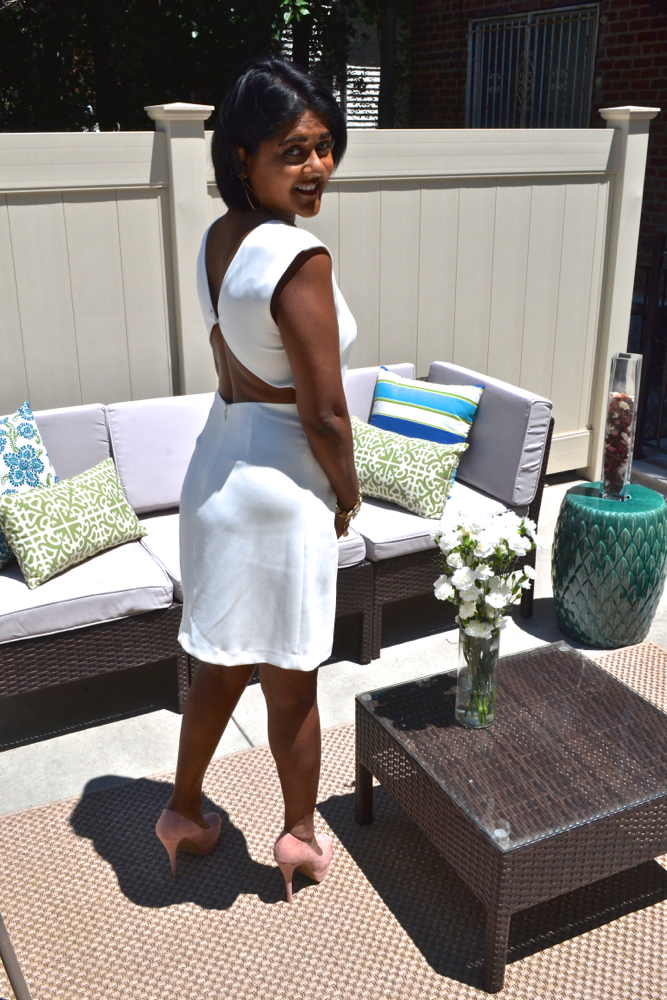 backless white theory dress astoria in heels