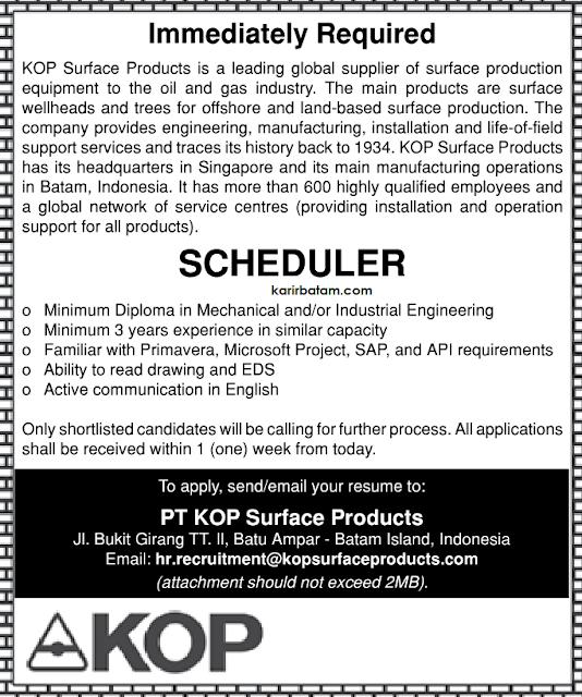 Lowongan Kerja PT. KOP Surface Products