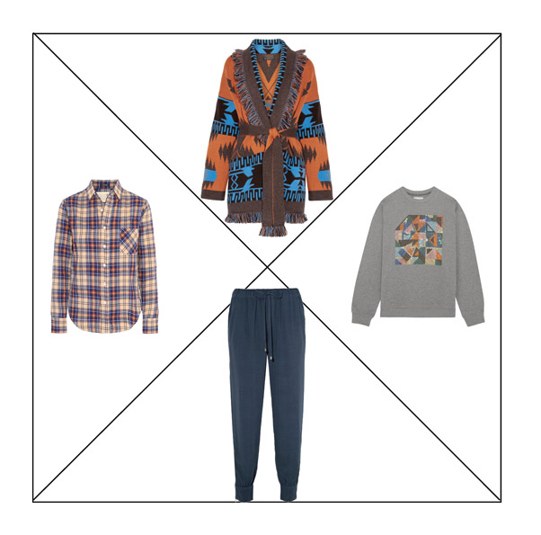 Джоггеры, рубашка в клетку, свитшот и кардиган для капсульного гардероба в повседневном стиле Casual