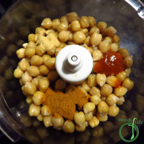 Morsels of Life - Sriracha Hummus Step 2 - Place all materials into food processor and process until desired texture reached. Add water or olive oil if a thinner texture is desired.