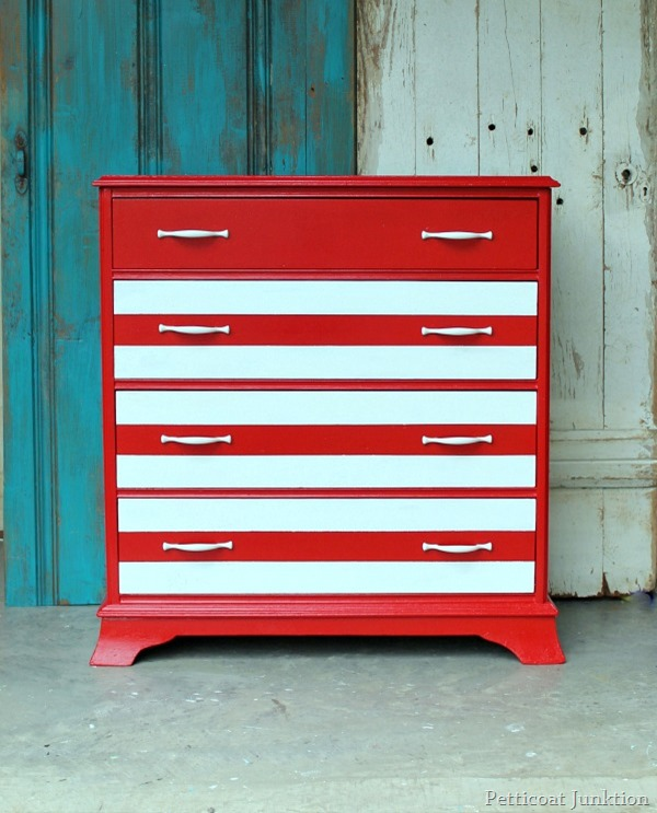 red and white striped dresser, 4th of july dresser, flag dresser